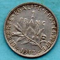 FRANCE  1 Franc  1918  Silver  SEMEUSE - H. 1 Franc