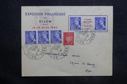 FRANCE - Enveloppe De L 'Exposition Philatélique De Dijon En 1942 , Affr. Plaisant Dont Pub Sur Inter Panneau - L 35313 - Marcophilie (Lettres)