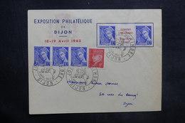 FRANCE - Enveloppe De L 'Exposition Philatélique De Dijon En 1942 , Affr. Plaisant Dont Pub Sur Inter Panneau - L 35315 - Marcophilie (Lettres)