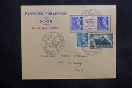 FRANCE - Enveloppe De L 'Exposition Philatélique De Dijon En 1942 , Affr. Plaisant Dont Pub Sur Inter Panneau - L 35316 - Postmark Collection (Covers)
