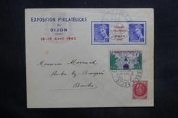 FRANCE - Enveloppe De L 'Exposition Philatélique De Dijon En 1942 , Affr. Plaisant Dont Pub Sur Inter Panneau - L 35318 - Postmark Collection (Covers)
