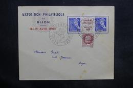 FRANCE - Enveloppe De L 'Exposition Philatélique De Dijon En 1942 , Affr. Plaisant Dont Pub Sur Inter Panneau - L 35323 - Postmark Collection (Covers)