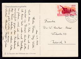 1939 K2 SCHW. MOT. KANN. BTTR. 110 Feldpost Auf Grenzbesetungskarte  - Schweiz