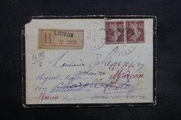 FRANCE - Enveloppe En Recommandé De Lisieux Pour Nolay Et Redirigée En 1918 , Affranchissement Semeuses - L 35334 - Marcophilie (Lettres)