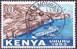 KENYA 1963 QEII 10/- Brown & Deep Blue SG13 FU - Kenya (1963-...)