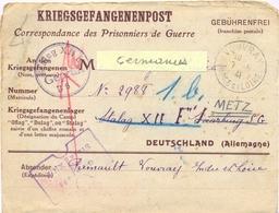 GUERRE 39-45 COR. POUR PRISONNIERS DE GUERRE STALAG XII F SG SAARBURG Rayé Remplacé Par  => METZ 1b Du 7-5-41 - Guerre De 1939-45