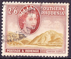 SOUTHERN RHODESIA 1953 QEII 2/6 Shillings Yellow-Olive & Orange-Brown SG52 FU - Southern Rhodesia (...-1964)