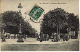 45 Orléans Promenades Du Mail En 1912 Galeries Orléannaises Animée Kiosque LANDAU Ancien - Orleans