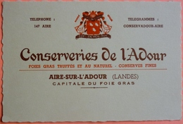 CARTE COMMERCIALE ANCIENNE - AIRE SUR L' ADOUR - 40 - CONSERVERIES DE L'ADOUR - SCAN RECTO/VERSO - Visiting Cards