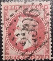 FRANCE Y&T N°32d Napoléon 80c Rose Vif. Oblitéré Losange GC N°2306 Melun - 1863-1870 Napoleon III With Laurels