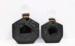 Miniatures De Parfum 2 Flacons  JEAN CHARLES  BROSSEAU  VIDE  7.5 Ml Et 15 Ml En Verre Noir Et Bouchon Verre - Bottles (empty)