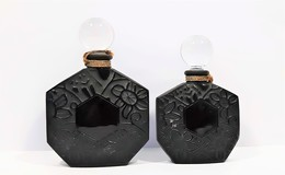 Miniatures De Parfum 2 Flacons  JEAN CHARLES  BROSSEAU  VIDE  7.5 Ml Et 15 Ml En Verre Noir Et Bouchon Verre - Flesjes (leeg)