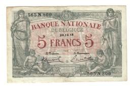 BELGIO Belgique 5 FRANCS 1918 Pick#2 Bb+LOTTO 1198 - [ 2] 1831-... : Belgian Kingdom