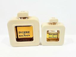 Miniatures De Parfum  2 FLACONS  IVOIRE De BALMAIN 7.5 Ml  Et 15 Ml Sérigraphie Noire + Habillage Flacon - Modern Miniatures (from 1961)