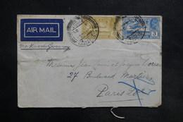INDE - Enveloppe De Pondichéry Pour La France En 1931 Par Avion , Affranchissement Plaisant - L 35466 - India (...-1947)