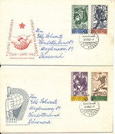 Czechoslovakia Registered FDC 20-7-1962 II LETNI SPARTIKADE Complete Set Of 4 On 2 Covers With Cachet Sent To Denmark - FDC