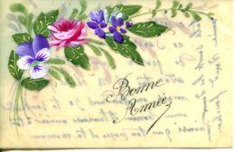N°74373 -carte En Celluloïd Peinte à La Main : Fleurs - Fleurs