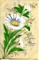 N°74376 -carte En Celluloïd Peinte à La Main : Marguerite - Fleurs