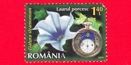 ROMANIA - Usato - 2013 - Fiori - Stramonio Comune - (Datura Stramonium L.) - Orologio 6 P.m - 1.40 - 1948-.... Repubbliche