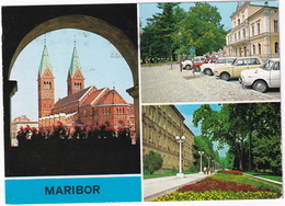 Maribor: SKODA 100, WARTBURG 353, PEUGEOT 404 - Franciscan Church - (Slovenia, YU.) - Toerisme