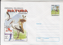 BIRDS, WHITE STORK, COVER STATIONERY, 1998, ROMANIA - Cigognes & échassiers