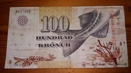 BILLETE DE FEROE DE 100 KRONUR DEL AÑO 2001 (BANKNOTE) FAROE - Billetes