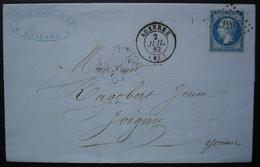Auxerre Yonne 1862 Pc 199 Lettre De Laurent Lessere Pour Joigny - 1849-1876: Periodo Classico