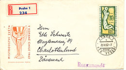 Czechoslovakia Registered FDC 20-6-1962  Basketball With Cachet Sent To Denmark Also A Stamp On The Backside Of The Cove - FDC