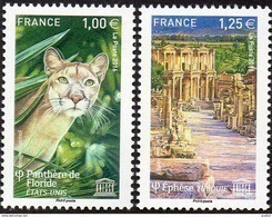France - Timbre De Service N° 166 Et 167 ** Unesco 2016 - Panthère De Floride Et Ephèse En Turquie - Dienstpost