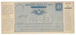 BOLLETTINO VAGLIA NUOVO DA 20 LIRE, - 1878-00 Umberto I