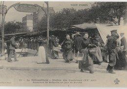 TOUT PARIS (75020). Métropolitain - Station Des Couronnes. Boulevard De Belleville Un Jour De Marché. C'était La France - Metropolitana, Stazioni
