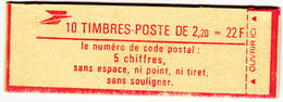 Liberté 2f20 Rouge Carnet Fermé 10 Timbres Confectionneuse 9 N° D'ordre Et Repére Electronique - Carnets