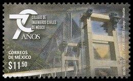 """2016  Colegio De Ingenieros Civiles De México, Puente """"Baluarte"""" Bridge, College Of Civil Engineers Of Mexico MNH - Messico"""