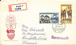Czechoslovakia Registered FDC 7-11-1962  Russian October Revolution 45th Anniversary With Cachet Sent To Denmark Also - FDC