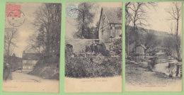 LYON LA FORET : 4 CPA. Vieux Moulin, La Lieurre, La Rigole, Eglise Saint Denis. 4 Scans. - Lyons-la-Forêt