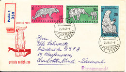Czechoslovakia Registered FDC 24-4-1962 30th Anniversary Of Prague Zoo With Cachet Sent To Denmark  (not Complete) - FDC