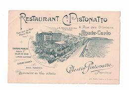 CARTOLINA PUBBLICITARIA POST CARD CARTE POSTALE  RESTAURANT CELESTIN PISTONATTO MONTECARLO - Pubblicitari