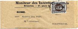 LE0021-N° 196 Obl. Elliptique BRUXELLES/JOURNAUX-BRUSSEL/NIEUWSBLADEN 22.XII.21 S/Bande Journal Complète V. SUISSE. Sup. - 1922-1927 Houyoux