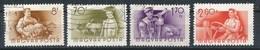 Ungarn 1955 Mi. 1426 + 1434 + 1439 + 1441 Gest. Landwirtschaft Gärtner Rinderhirt Schweinehirt Traktor - Landwirtschaft