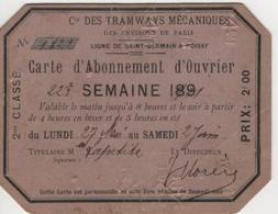 METRO TRAMWAYS MÉCANIQUES Carte Abonnement Ouvrier Nom 22° Semaine 1901 Surchargé 2° Classe Utilisé - Week-en Maandabonnementen