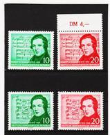 YZO741 DDR 1956 MICHL 528/29 + 541/42 ** Postfrisch ZÄHNUNG SIEHE ABBILDUNG - DDR