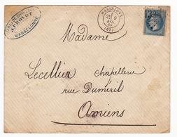 Lettre 1869 Wasselonne Bas Rhin Alsace Fabrique De Chapeaux J. Provot Lecellier Chapellerie Amiens - 1863-1870 Napoleon III Gelauwerd