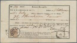 Österreich: 1850, 6 Kreuzer Rötlichbraun Auf Handpapier, Type Ib, Auf Kompletter Retour-Recepisse Vo - 1850-1918 Imperium