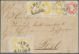 Österreich: 1858, 2 Kr Gelb, Type II, Zusammen Mit 1861, 4 X 2 Kr Gelb Und 5 Kr Rot, Entwertet Mit Z - 1850-1918 Imperium
