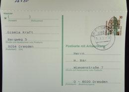 DDR: Doppel-Gs-Karte Kpl. 30/30 Celle Gest. In 8010 Dresden 14.3.91 Und 8070 Dresden 18.3.91 Gs Wenig Vorhand.Knr: P 148 - [7] Federal Republic