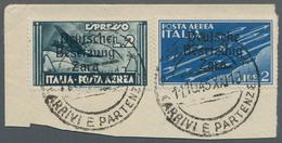 Dt. Besetzung II WK - Zara: 1943, 2 Lire Dunkelblau Flugpostmarke Und 2 Lire Flugpost-Eilmarke, Beid - Besetzungen 1938-45