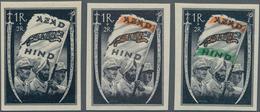 Dt. Besetzung II WK - Nationales Indien (Freies Indien): 1943, 1 R + 2 R Schwarz, 1 R + 2 R Schwarz/ - Besetzungen 1938-45
