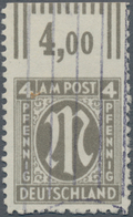 Bizone: 1945, 4 Pf AM-Post Dt.Druck Vom Oberrand, Gebrauchtes Stück Oben UNGEZÄHNT. Doppelt Sign. Sc - Zone Anglo-Américaine
