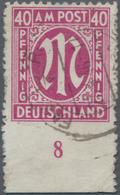 """Bizone: 1945/1946, 40 Pfg. AM-Post Rosakarmin In Zähnung L 11 X 11 1/2 Entwertet """"Fassberg über Unte - Zone Anglo-Américaine"""
