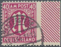 Bizone: 1946, 40 Pfg. Rosalila Gebrauchtes Rechtes Randstück In Zähnung L 11 Mit Ausgefallener Recht - Zone Anglo-Américaine